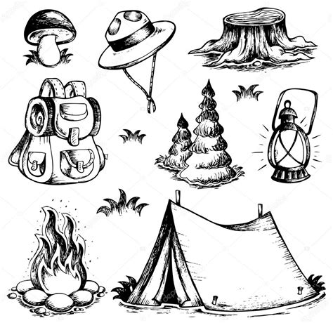 outdoor theme drawings collection stock vector  clairev