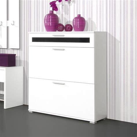 meuble haut bureau meuble à chaussures 16 paires l90xp30xh100cm primus blanc