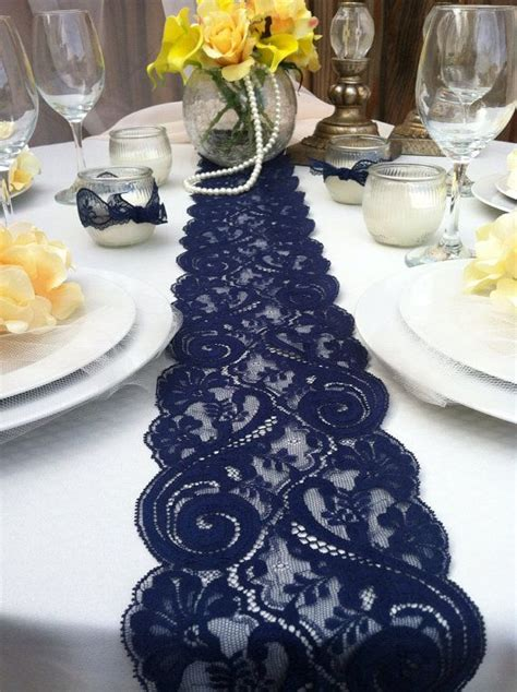 navy blue lace table runner weddings decor 2 yards 6ft 8 quot wide x78 inches navy weddings