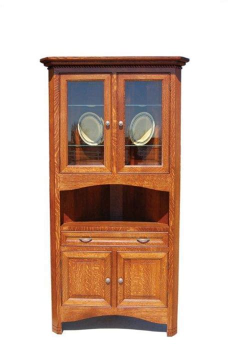 solid wood corner hutch  dutchcrafters amish furniture