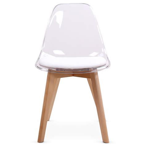 chaise design blanche plexi et bois chaise design