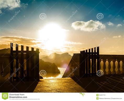 amazing landscape   open gate  sunrise stock photo