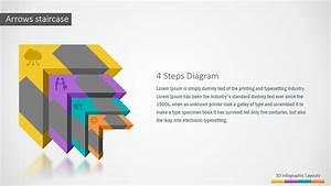 3d Four Steps Arrows Staircase Powerpoint Diagram