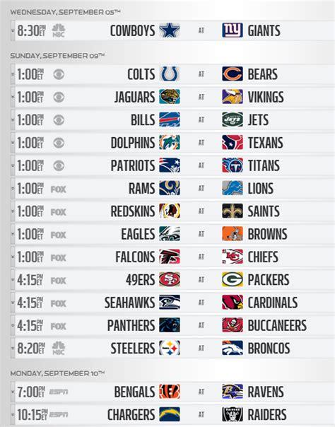 nfl releases  regular season schedule