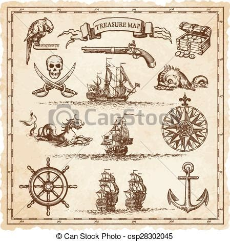 pirate vintage map illustration elements  collection