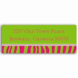 Pink and Green Zebra Print Return Address Labels | PaperStyle