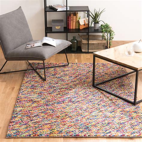 tapis en laine multicolore    cm rainbow maisons