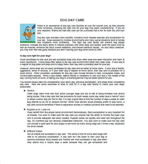 daycare business plan template  word excel