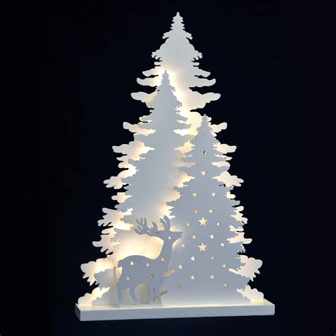 winter tree scene standing led light  christmas wood