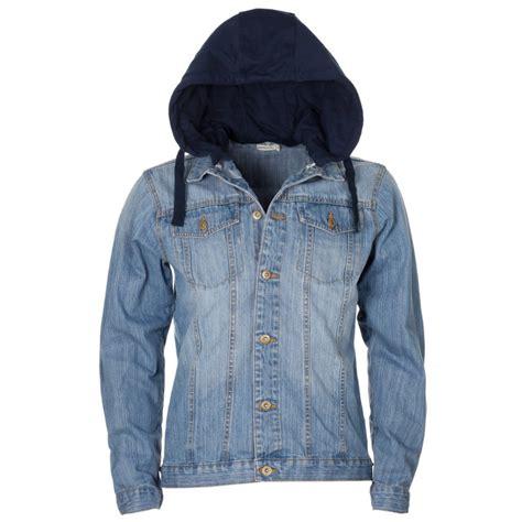 light denim jacket womens mens light blue washed effect jersey hood denim jacket