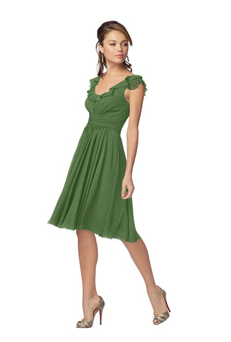 bridesmaid dresses knee length wtoo style 916 knee length green chiffon a line bridesmaid dress with a ruffled neckline