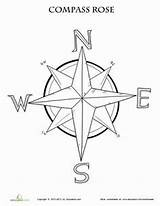 Compass Rose Coloring Map Worksheet Printable Maps Grade Pages Worksheets Activities Education 3rd Pirate Learning Skills Adult Teaching Template Nautical sketch template