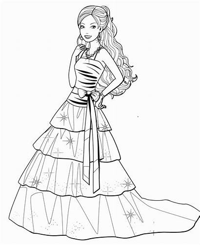 Barbie Coloring Pages Drawing Dresses Printable Sketch
