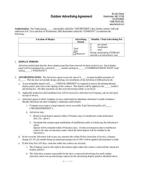 Advertising Contracts Templates by Advertising Contract Template 10 Free Pdf Word