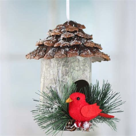rustic christmas birdhouse ornament birds butterflies