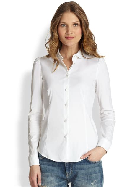 stretchable blouse valentino stretch cotton poplin blouse in white lyst