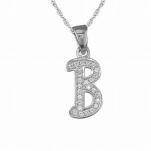 girls initial letter b necklace cubic zirconia sterling With sterling silver letter b necklace