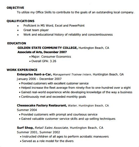 sample entry level resume  documents   word