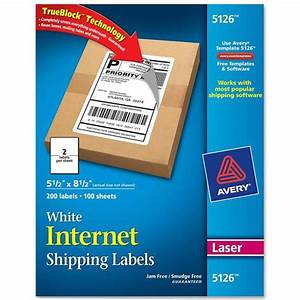 Avery 5126 55 x 85quot white internet shipping labels for Avery internet shipping labels