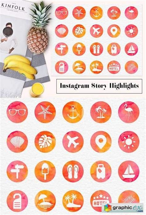 instagram story highlight icons   vector