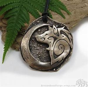 Tribal Art Schmuck : large tribal wolf necklace crescent moon pendant one of a kind jewelry bronze big wolf ~ Sanjose-hotels-ca.com Haus und Dekorationen
