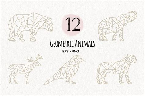 geometric animals eps png illustrations creative market