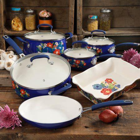 pioneer woman copper charm stainless steel copper bottom  piece cookware set walmart