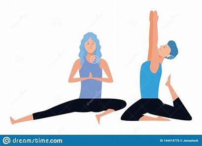 Yoga Couple Poses Cartoon Avatars Character Graphic