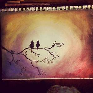 Beautiful tree, bird, and sunset chalk pastel drawing ...