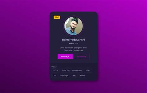 profile card design css transition