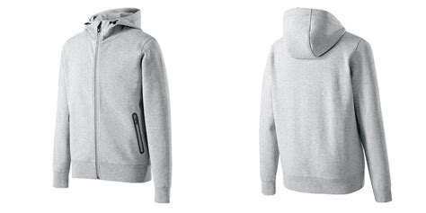 Thermal Hooded Cardigan Sweater Mens Light Gray Cotton Polyester Custom Zipper Pocket Hoodie