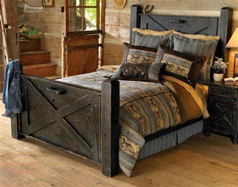 distressed bedroom furniture rustic black distressed barn door bed reclaimed