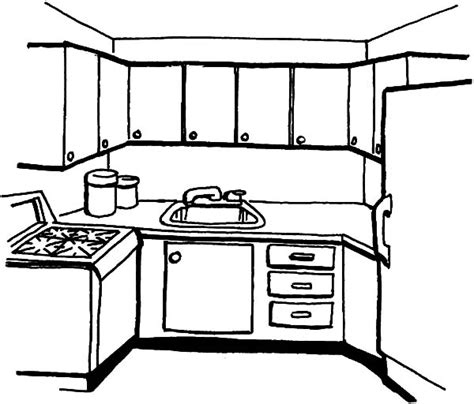 kitchen coloring pages simple kitchen coloring pages print 3385