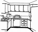 Coloring Kitchen Pages Simple Template Cabinet Templates Cooking Colornimbus sketch template