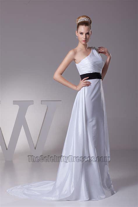 white  shoulder   wedding dress  black belt