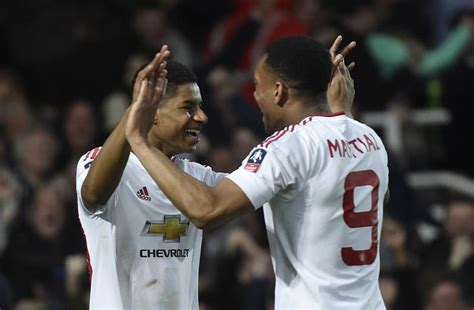 Manchester United's Anthony Martial And Marcus Rashford Up