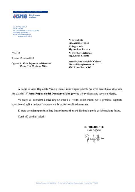 lettere di ringraziamento formali lettera di ringraziamento da avis veneto il degli
