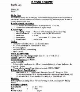 resume format for btech students best resume collection With sample resume for cse students