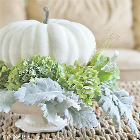 plastic white pumpkins hydrangea and white pumpkin fall centerpiece sand and sisal