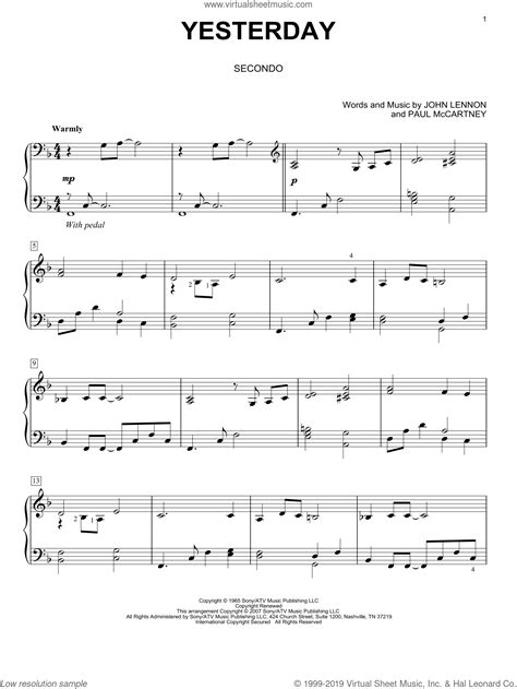 beatles yesterday sheet music for piano four pdf