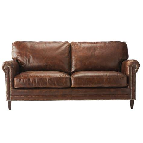 canape en canapé 2 places en cuir marron sinatra maisons du monde