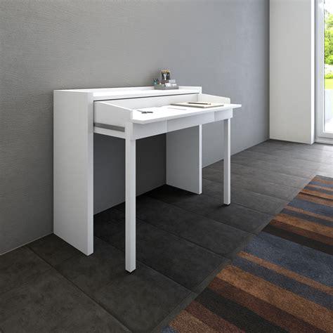 bureau console extensible 2 en 1 bureau extensible bureau extensible 110 cm blanc
