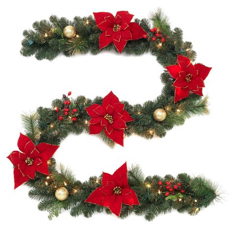 pre lit poinsettia garland home accents 9 ft pre lit artificial garland with poinsettias 2399800hd the home depot