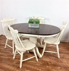 Solid Oak Table Set in Antique White & Espresso General