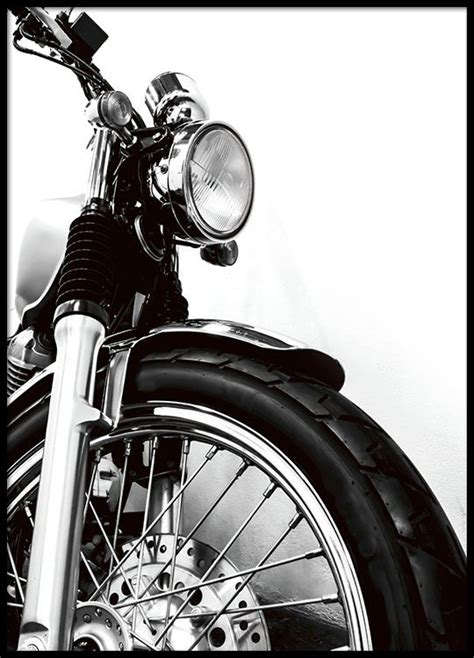 cleanly designed poster  motorcycle black  white photo