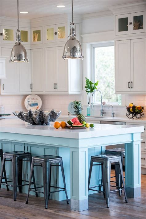 coastal white kitchen  turquoise island home bunch interior design ideas