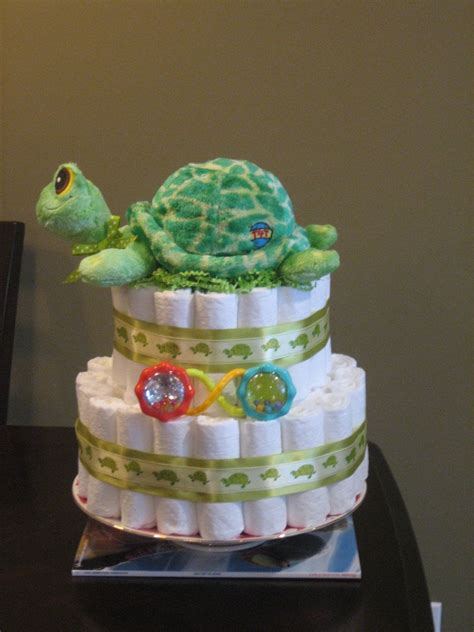 Cake Centerpieces For A Baby Shower by Sea Turtle Neutral Green Cake For Baby Shower
