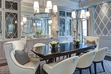 gray dining room  glass front china cabinets