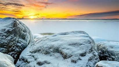 Snow Sunset Rocks Layer Winter Frozen Shore