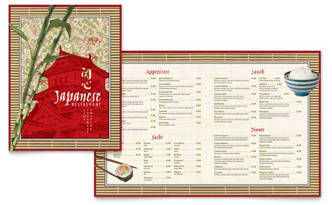 japanese restaurant menu template word publisher